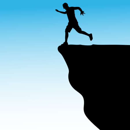 cliff: Silhouette of standing man on cliff, vector Illustration