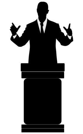 tribune: silhouette of men speaking from tribune, vector Illustration