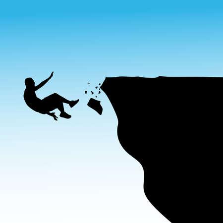 cliff: Man falls off a cliff, vector Illustration