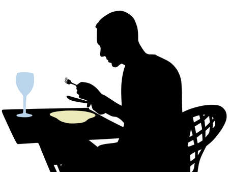 man eating, vector Illustration