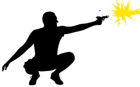 man gun: man shooting gun, vector