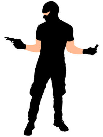 hijacker: robber with mask, vector