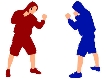 personal trainer: two fighters wearing black hoodie, vector Illustration