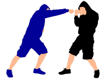 tough man: two fighters wearing black hoodie, vector Illustration