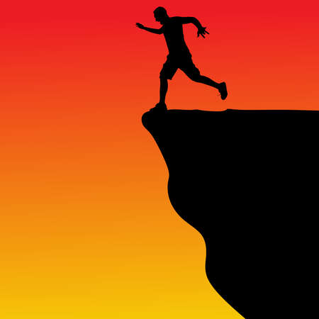 brave of sport: Silhouette of standing man on cliff, vector Illustration