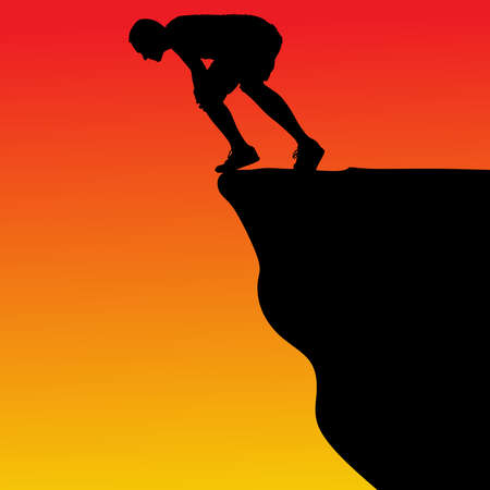 extremely: Silhouette of standing man on cliff, vector Illustration