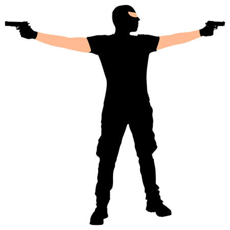 threat of violence: robber with mask, vector
