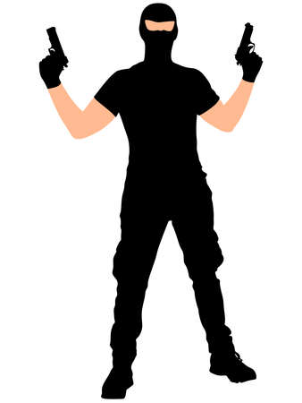 thug: robber with mask, vector