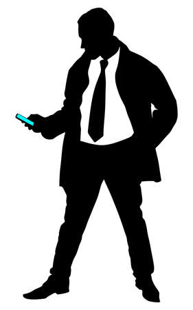 texting: successful businessman in coat with cellphone texting, vector