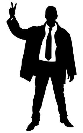 expressing: business man in coat expressing winning winner energy success, vector