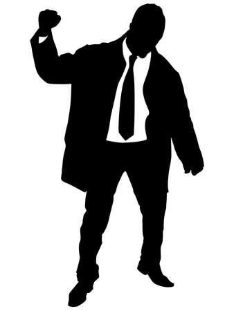 euphoric: business man in coat expressing winning winner energy success, vector