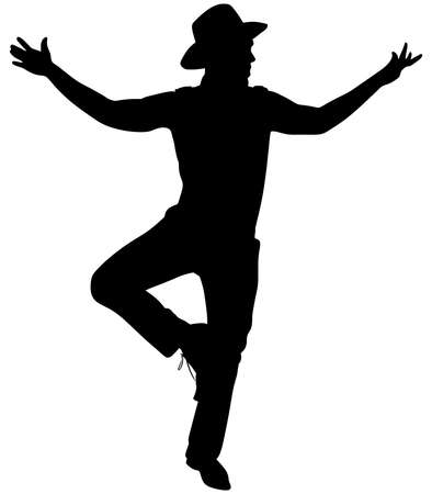 Man with hat dancing silhouette, vector