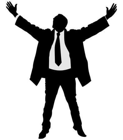 businessman jumping: business man in coat expressing winning winner energy success, vector