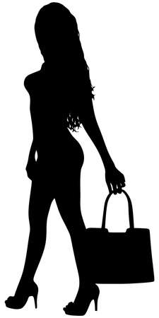 hosiery: Young woman holding bag and posing, vector