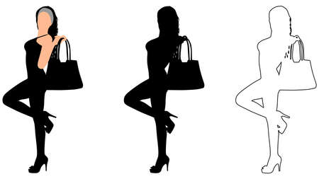 designer bag: Young woman holding bag and posing, vector
