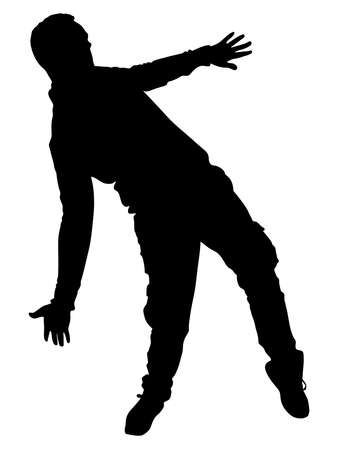 Man dancing silhouette, vector