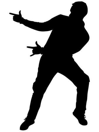 Hombre silueta de baile, vector