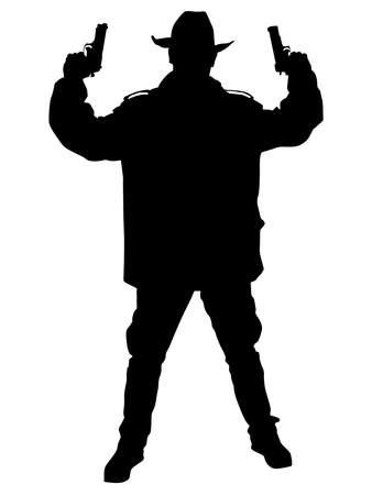 Man wearing vintage hat with gun, vector
