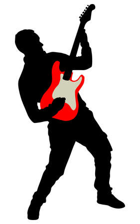 single songs: Young guitarist plays on the electric guitar, vector