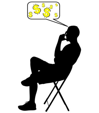 worried man: worried man thinking about money, vector