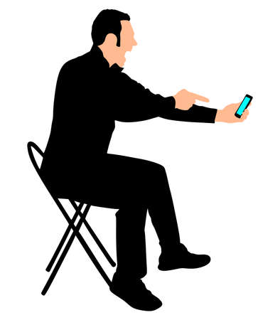 shouting: Angry young man shouting using a cellphone, vector