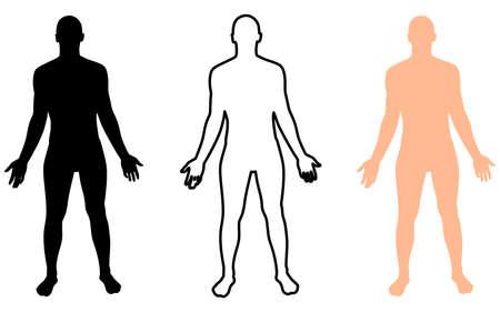 立っている裸の男、男性の体のシルエットの完全な長さの正面図