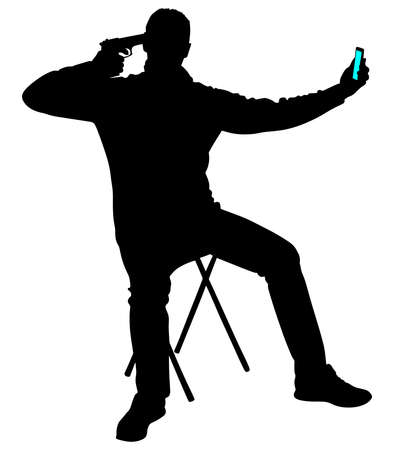 death head holding: Man pointing a gun at his head, suicide concept, vector