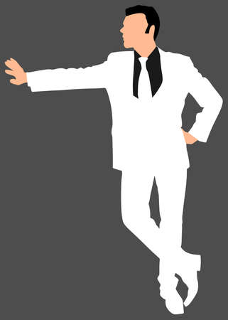 white suit: successful businessman in white suit, vector