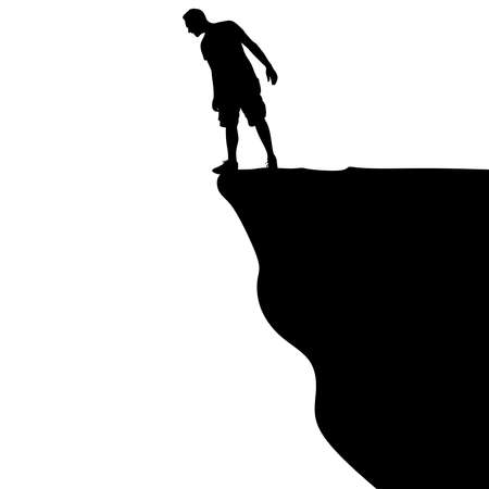 Silhouette of standing man on cliff, vector Stock Illustratie