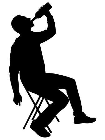 borracho: Silueta del hombre bebido alcohol, vector