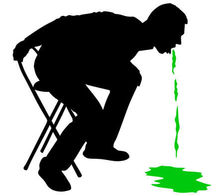 nausea: Man releasing a large stream of vomit, vector