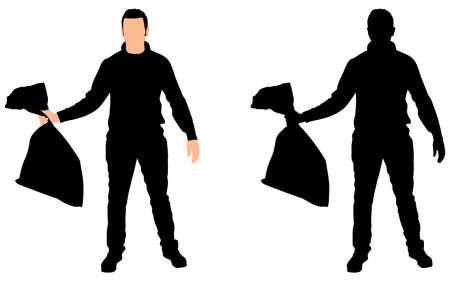 fullbody: Man Holding garbage bag, vector
