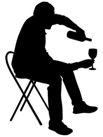 alcoholic: Silhouette of alcoholic drunk man, vector