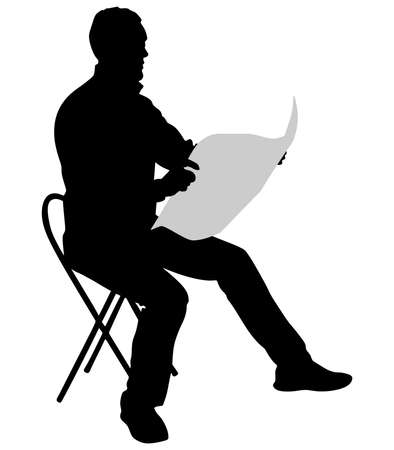 man reading: Young Man Reading Newspaper, vector