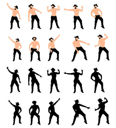 shirtless: Man with hat dancing, vector