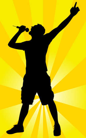black yellow: Man singing with a microphone, vector Illustration