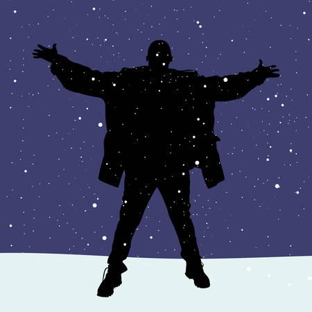 snow falls: man in winter clothes spread his hands and he is happy that its snow falls, vector Illustration