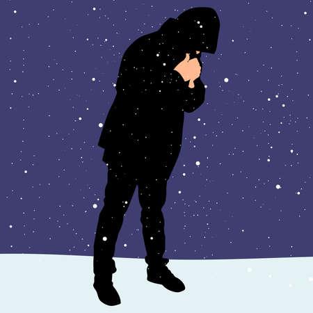 freezing: Man freezing, vector
