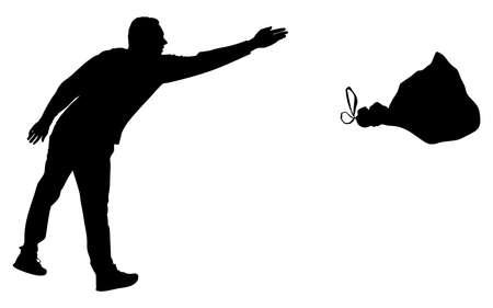 man throwing garbage bag, vector Illustration