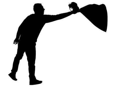 fullbody: man throwing garbage bag, vector Illustration