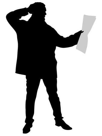 Jeune homme de lecture du journal, vecteur Banque d'images - 55658172