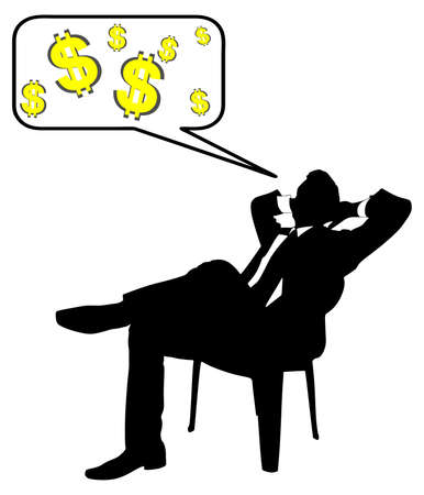stubbly: Young businessman taking a break and thinking about money, vector