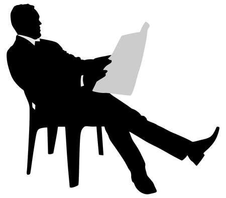 reading news: young businessman reading news paper sitting on chair, vector