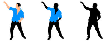blue shirt: Man in blue shirt dancing silhouette, vector Illustration