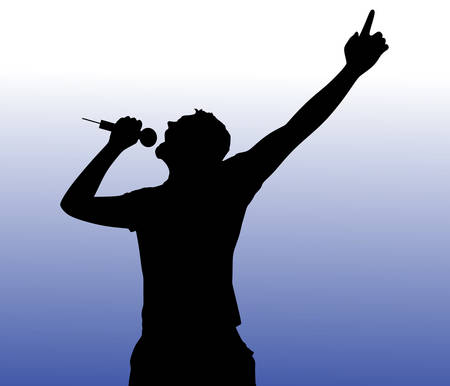 karaoke singer: Man singing with a microphone, vector Illustration