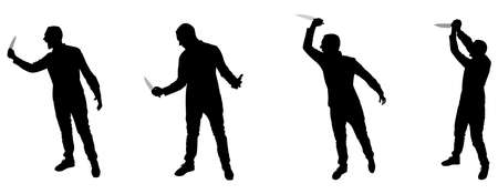 deathly: Horror Silhouette of Man with Knife, group
