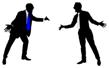 argument: Two businessmen having an argument, vector