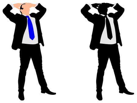 introverted: disappointed and worried businessman, vector