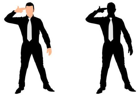exaggerate: Business man despair suicide behavior, vector
