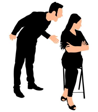yelling: Boy yelling at his girlfriend, vector Illustration